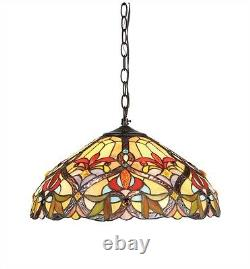 Tiffany Style Victorian Hanging Stained Glass Ceiling Pendant Light 18 Shade