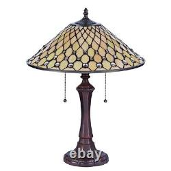 Tiffany-style Victorian 2 Bulb Table Lamp 16 Wide Shade Glass Beads