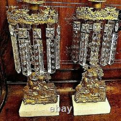 Two Antique Bronze Girandole Crystal Candle Holders With Couple Fishing