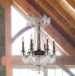 USA French Royal 9-Light Antique Bronze Clear Crystal Chandelier 20 x 29 Medium