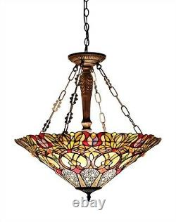 Victorian Pendant Hanging Ceiling Light Fixture Stained Cut Glass 24 Inverted