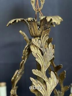 Vintage Bronze Brass French Lily Flower Chandelier No Crystal