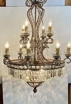 Vintage French Basket Chandelier 12 Candles 4 Bulb, Crystal Columns & Beads