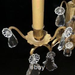 Vintage French Bronze Sconce Two Lights with Pendeloque Crystal Prisms, Numbered