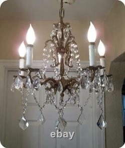 Vtg Antique Brass & French Czech Crystals Small Chandelier 5 Lights Hanging Lamp